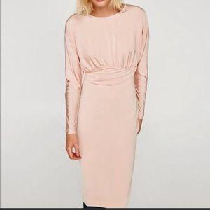 NWT Zara Pink Long Sleeved Midi Dress
